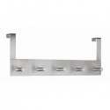 Cuier metalic de perete argintiu cu 5 agatatori, ALCO