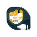 Banda etichetare 12mm x 2m din nylon alba, DYMO LetraTag Iron-On