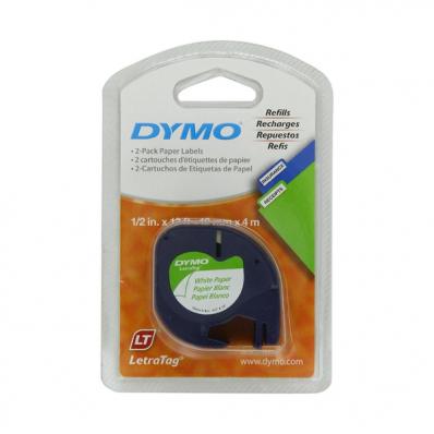 Banda etichetare 12mm x 4m din hartie alba, DYMO LetraTag