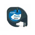 Banda etichetare 12mm x 4m din plastic alba, DYMO LetraTag