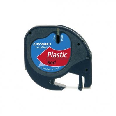 Banda etichetare 12mm x 4m din plastic rosie, DYMO LetraTag