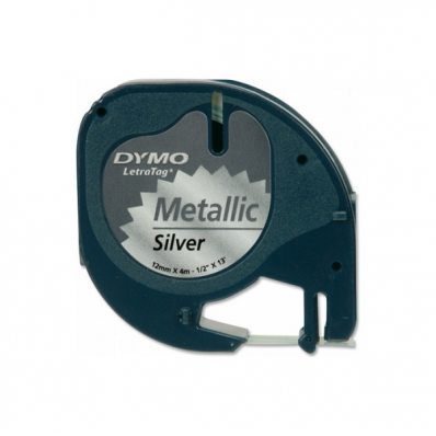Banda etichetare 12mm x 4m metalica argintie, DYMO LetraTag