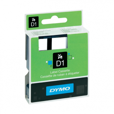 Banda etichetare 12mm x 7m negru/transparent, DYMO D1