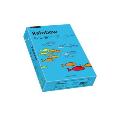 Carton A4 160g/mp 250 coli/top albastru intens, RAINBOW