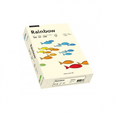 Carton A4 160g/mp 250 coli/top crem, RAINBOW
