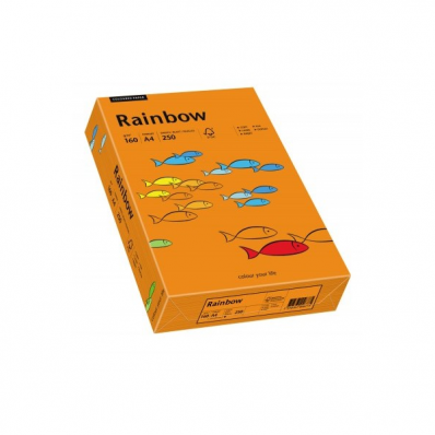 Carton A4 160g/mp 250 coli/top portocaliu intens, RAINBOW