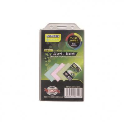 Buzunar ecuson PP transparent 55x90mm vertical cu sistem de agatare 10 buc/set, KEJEA