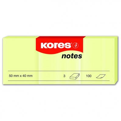 Notes adeziv 40x50mm galben pal 3 x 100 file, KORES