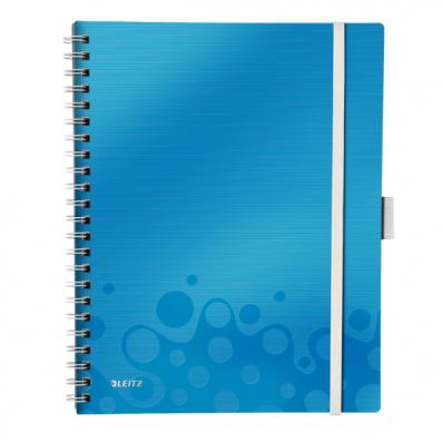 Caiet A4 cu spira 80 file dictando coperti PP albastru metalizat, LEITZ Be Mobile WoW