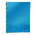 Caiet A4 cu spira 80 file dictando coperti PP albastru metalizat, LEITZ Get Organized WoW