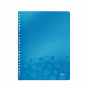 Caiet A4 cu spira 80 file dictando coperti PP albastru metalizat, LEITZ WoW
