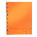 Caiet A4 cu spira 80 file dictando coperti PP portocaliu metalizat, LEITZ Get Organized WoW