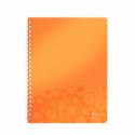 Caiet A4 cu spira 80 file dictando coperti PP portocaliu metalizat, LEITZ WoW