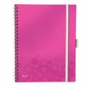 Caiet A4 cu spira 80 file dictando coperti PP roz metalizat, LEITZ Be Mobile WoW