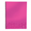 Caiet A4 cu spira 80 file dictando coperti PP roz metalizat, LEITZ Get Organized WoW