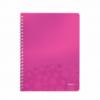 Caiet A4 cu spira 80 file dictando coperti PP roz metalizat, LEITZ WoW