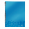 Caiet A4 cu spira 80 file matematica coperti PP albastru metalizat, LEITZ Get Organized WoW