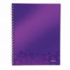 Caiet A4 cu spira 80 file matematica coperti PP mov metalizat, LEITZ Get Organized WoW