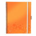 Caiet A4 cu spira 80 file matematica coperti PP portocaliu metalizat, LEITZ Be Mobile WoW