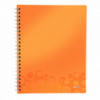 Caiet A4 cu spira 80 file matematica coperti PP portocaliu metalizat, LEITZ Get Organized WoW