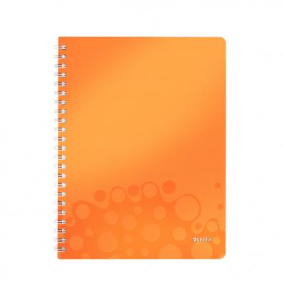 Caiet A4 cu spira 80 file matematica coperti PP portocaliu metalizat, LEITZ WoW