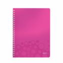 Caiet A4 cu spira 80 file matematica coperti PP roz metalizat, LEITZ WoW