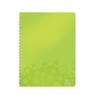 Caiet A4 cu spira 80 file matematica coperti PP verde metalizat, LEITZ WoW