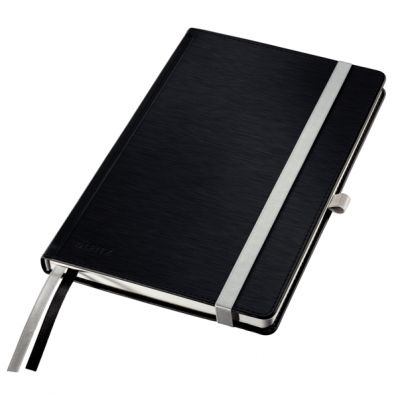 Caiet A5 80 file dictando coperti rigide negru satin, LEITZ Style