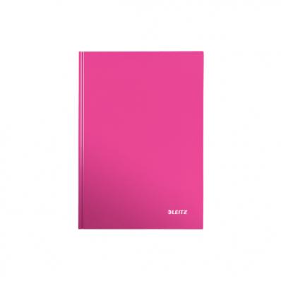 Caiet A5 80 file matematica coperti rigide roz metalizat, LEITZ WoW