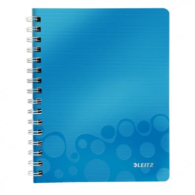 Caiet A5 cu spira 80 file dictando coperti PP albastru metalizat, LEITZ WoW
