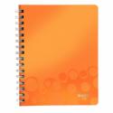 Caiet A5 cu spira 80 file dictando coperti PP portocaliu metalizat, LEITZ WoW