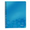 Caiet A5 cu spira 80 file matematica coperti PP albastru metalizat, LEITZ WoW