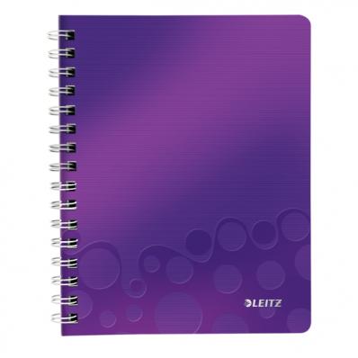 Caiet A5 cu spira 80 file matematica coperti PP mov metalizat, LEITZ WoW