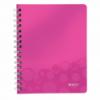 Caiet A5 cu spira 80 file matematica coperti PP roz metalizat, LEITZ WoW
