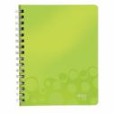 Caiet A5 cu spira 80 file matematica coperti PP verde metalizat, LEITZ WoW