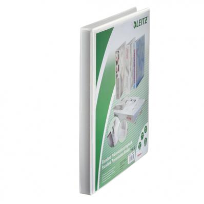 Caiet mecanic cu buzunar A4 4 inele 16mm PP alb, LEITZ Panorama Maxi