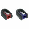 Ascutitoare plastic simpla cu cauciuc rosie/albastra, FABER-CASTELL