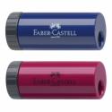 Ascutitoare plastic simpla cu container rosie/albastra, FABER-CASTELL