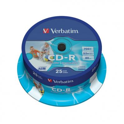 CD-R 700Mb 52x 25 buc/cut, VERBATIM Wide Printable