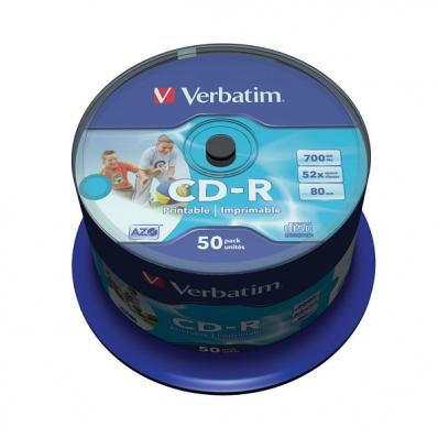 CD-R 700Mb 52x 50 buc/cut, VERBATIM Wide Printable